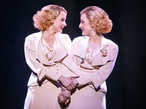 Emily Padgett as Daisy Hilton and Erin Davie as Violet Hilton in Side Show (Photo by Joan Marcus.)