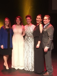 Maria Van Laanen poses with Sarah Brockel (Beautiful), Trista Moldovan (Finding Neverland), Daniella Dalli (The Sound of Music) and fellow emcee Bob Bucci