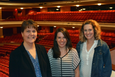 The team that coordinates with The Kennedy Center to put on Classroom Connections teacher workshops. From left to right Director of Programming and Community Engagement Amy Gosz, Education Coordinator Cassie Schroeder and Appleton Area School District Fine Arts Coordinator Renee Ulman.